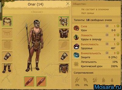 характеристики персонажа